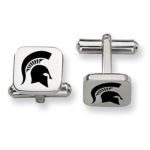 Michigan State MSU Spartans Stainless Steel Square Cufflinks