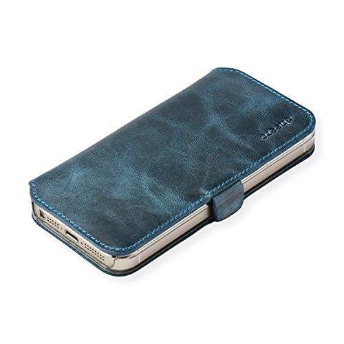 cheero Leather Case iPhone5/5s (Book type) -本革(牛)- (iPhone5/5s, ヴィンテージ アイアンブルー)
