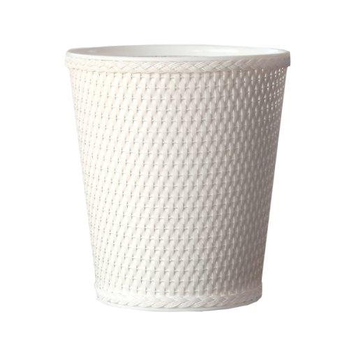 Lamont Home Carter Round Wicker Waste Basket, White front-421245