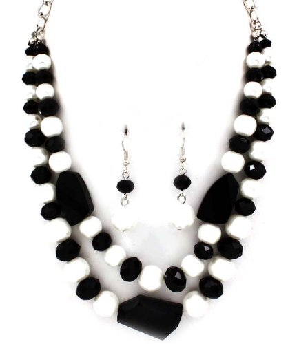 Sparkles Fashion Necklace - Black and White Bead Necklace and Earring SET / Multi Strand / Beads / Faux Pearl / 16 Inch Long / Nickel and Lead Compliant / - Dangle Drop Statement Wedding Jewelry