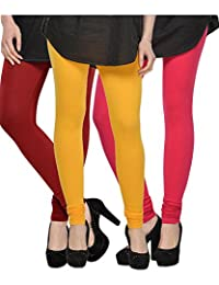 Kjaggs Women's Cotton Lycra Regular Fit Leggings Combo - Pack Of 3 (KTL-TP-5-6-8, Yellow, Maroon, Pink)