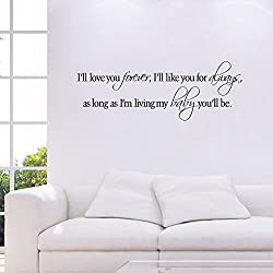Witkey I ll Love You Forever I ll Like You For Always DIY Home Decor Decals Wall Sticker Art Quote and Saying Removable DIY Mural Living Room Bedroom