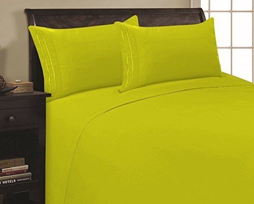 Elegant Comfort 4 Piece 1500 Thread Count Luxurious Ultra Soft Egyptian Quality Coziest Sheet Set, King, Neon/Green Lime