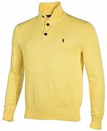 Polo Ralph Lauren Men\'s 3 Button Mock Neck Sweater-Yellow-Small