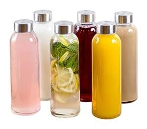 Amazon.com : Estilo Glass Water Bottles 16 oz, Stainless Steel Cap