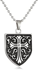 Cold Steel Stainless Steel 0.05Ct Black Diamond Celtic Cross Shield Men's Pendant Necklace