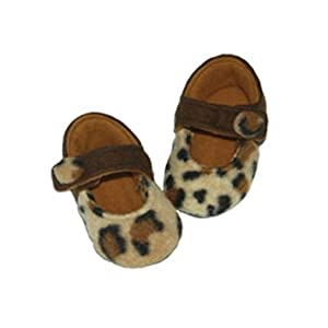 Baby Brown Leopard Print Mary Janes by Mimi Couture - 6-12 months