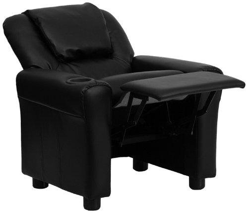 Flash Furniture DG-ULT-KID-BK-GG Contemporary Black Vinyl Kids Recliner with Cup Holder and Headrest