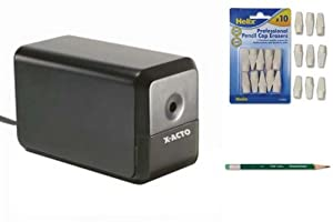 The Perfect Electric Pencil Sharpener Gift Set includes Xacto Hunt Boston XLR 1818 Sharpener, Papermate Earth Friendly Pencils and Helix Professional Hi-polymer Pencil Cap Erasers