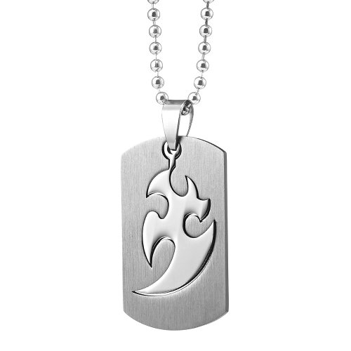 Unique Men's Stainless Steel Tribal Dog Tag Pendant Necklace (Silver) Dogtag Jewelry