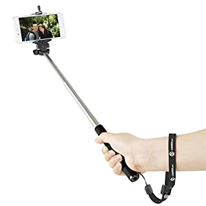 """Extendable Selfie Stick by CamKix® - With Universal Phone Holder Suitable for iPhone, Samsung, and Other Devices up to 3.25 Inches in Width - Fully Adjustable Handheld Monopod 11"""" - 40"""" - Light, Compact, and Easy to Carry With You"""