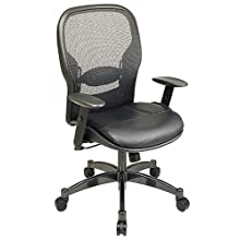 Office Star Breathable Mesh Back and Leather Seat Managers Chair