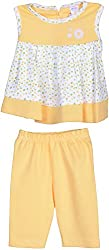 Kandyfloss Girls' Dress (Yellow & White, 0-3 Months)