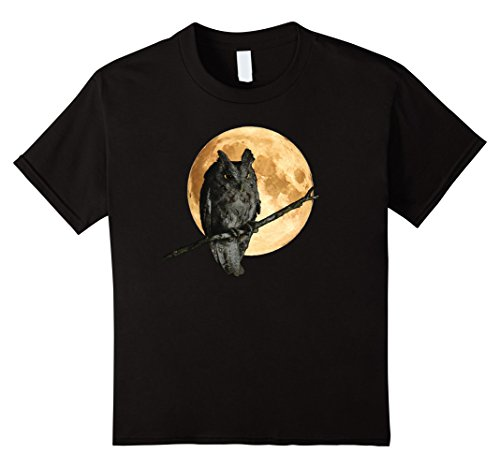 [Kids Spooky Owl Against Harvest Moon Graphic T-Shirt 12 Black] (Austin Tx Halloween Costumes)