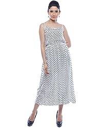 Binny Creation Women's Art Crepe White Western Dress (Tunic) (BWD-11021)
