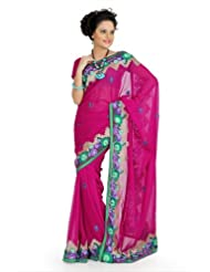Designersareez Women Faux Georgette Embroidered Deep Pink Saree With Unstitched Blouse(707)