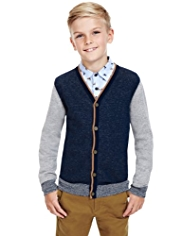 Autograph Cotton Rich Space-Dye Cardigan with Cashmere