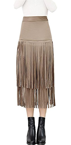 Youtobin-Women-Vintage-Suede-Leather-Tassel-Fringe-Pencil-Midi-Party-Club-Skirt