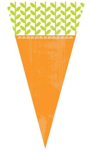 Amscan Egg-stra Special Easter Party Carrot-Shaped Cello Bag Favors, Multicolor, 11