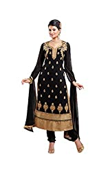 Siya Fashion women's Georgette Party Wear Unstitched Dress Material(si2052_ Black color)