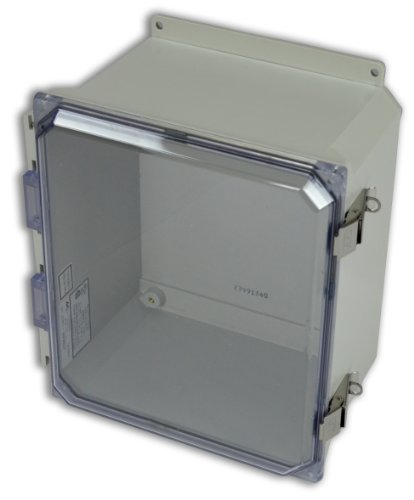 Allied Moulded Amu1206Cclf Ultraline Series Fiberglass Jic Size Junction Box, Snap Latch With Mounting Flanges And Hinged Clear Polycarbonate Cover