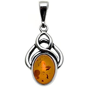 Certified Genuine Honey Amber and Sterling Silver Celtic Pendant