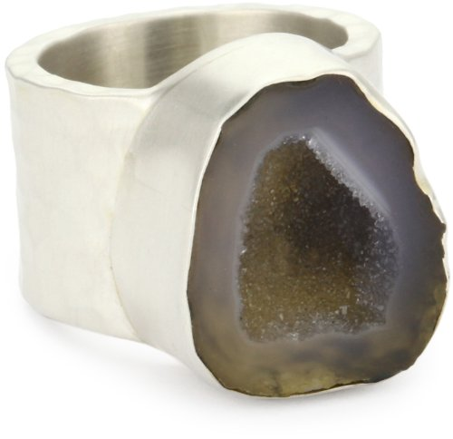 "Heather Benjamin ""Wave"" Grey Mexican Geode Hammered Sterling Silver Ring, Size 7"
