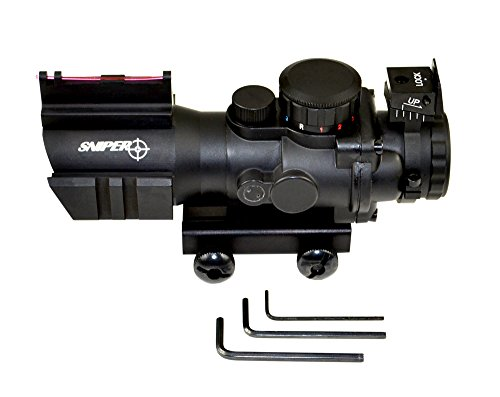 SNIPER®Tactical Scope with front Fibe optics Sight and Side Rail and Horseshoe Reticle (Quad Rail For Magpul Handguards compare prices)