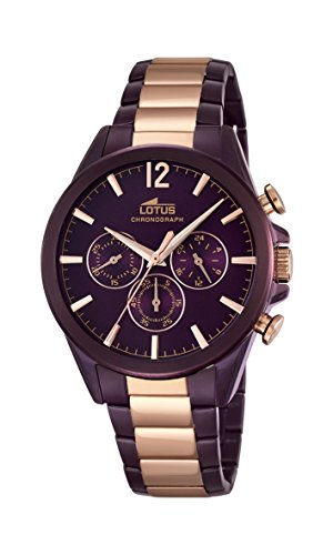Lotus Men's Quartz Watch with Purple Dial Chronograph Display and Two Tone Stainless Steel Plated Bracelet 18198/1