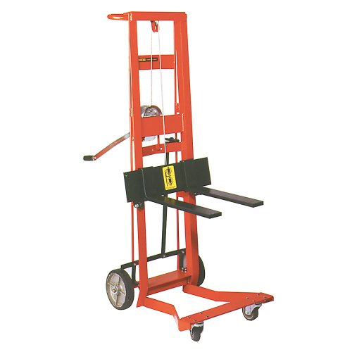 "Wesco Industrial Products 260023 Steel Frame 4 Wheeled Winch Pedalift, 750 Pound Capacity, 40"" Lift Height, 18"" Length X 3"" Width Fork front-905567"