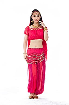 Dreamspell 2014 Fashion Belly Dance Rose Red Suit Women Sexy Wear