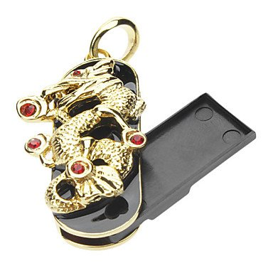 AES – 32GB Metal Jewelry Style Golden Dragon USB Flash Drive