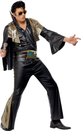 Smiffys Elvis Costume (Medium, Black/ Gold) Black