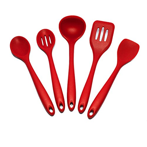 Sorbus Silicone Kitchen Utensil Set in Solid Coating-Dishwasher Safe (5-Piece) (Red Kitchen Utensils compare prices)