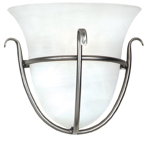 Yosemite Home Decor 92271-1Sn Bridalveil Wall Sconce With Frosted Alabaster Shades, 1-Light, Satin Nickel front-516328