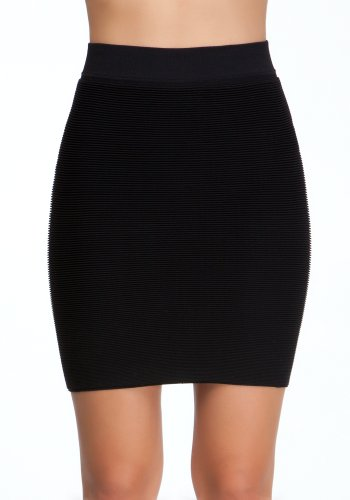 bebe Textured Bodycon Skirt Tubular Blk-m/l