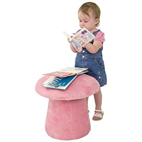 Kids Chair and Seating - Fuzzy Pink Mushroom Kid's Stool - KG-BK06-S100-PINK-GG