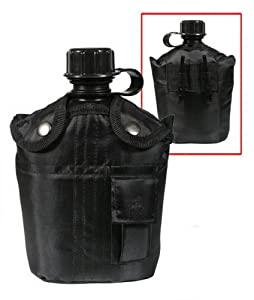 3PC CANTEEN KIT W/COVER &ALUMINUM CUP-BLACK