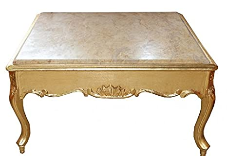 Casa Padrino Baroque gold coffee table with marble top 80 x 80 cm antique style