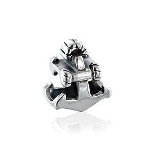 Bling Jewelry 925 Sterling Silver Nautical Anchor Charm Bead Fits Pandora Chamilia Troll Biagi