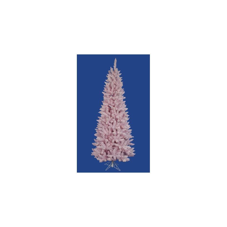4.5 Pre Lit LED Flocked Pink Artificial Spruce Slim Christmas Tree  Clear Lts