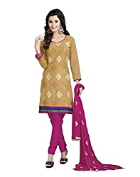 FadAttire Embroidered Cotton Suit-Brown-FAPA05