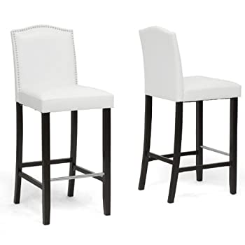 Baxton Studio Libra Modern Bar Stool with Nail Head Trim, White, Set of 2