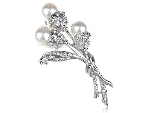 Faux Pearl Bead Flower Bud Bouquet Crystal Rhinestones