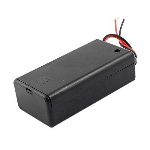 Interrupteur ON/OFF 2 fils Noir Porte Boîtier pour 1 pile 9 V