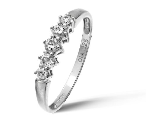 9ct White Gold 0.25ct Diamond Graduated Eternity Ring