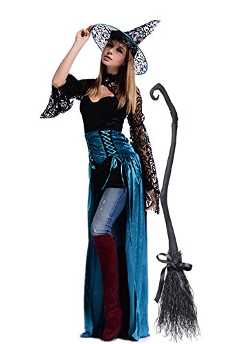 NonEcho Adult Enchantress Witch Halloween Costume for Women with Hat (Free size, Witch) (Adult Halloween Costumes Ideas 2016)