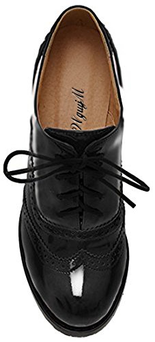 Women's Oxford Dress Pumps WGWJM-Patent Leather-Mid-heel-Hallowmas Shoes 4