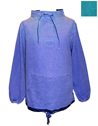 """Deal Clothing Mens High Neck Canvas Fisherman Smock in Blue or Green (M - Chest 46"""", Blue)"""