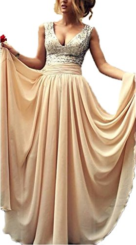 Babyonline-Sexy-Ladys-Deep-V-neck-Sequins-Top-Chiffon-Long-Prom-Dress-Ball-Gown